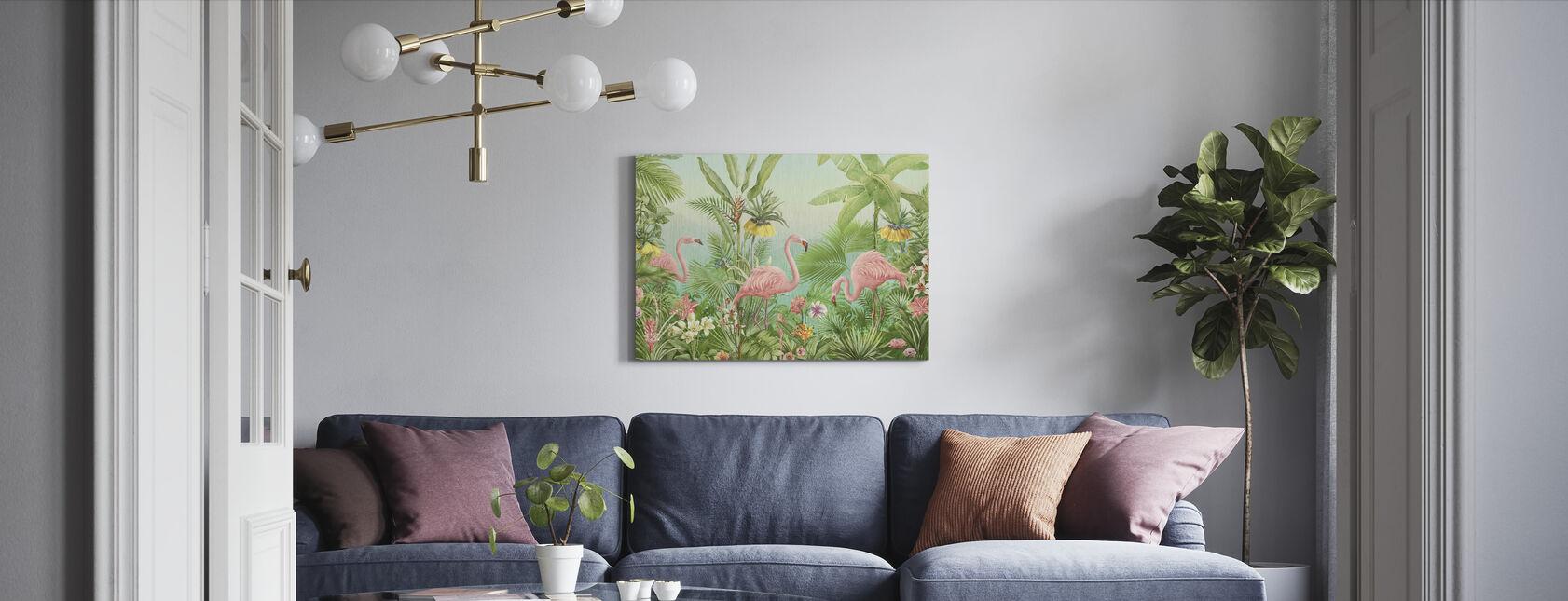 Flamingo Eden - Canvas print - Living Room