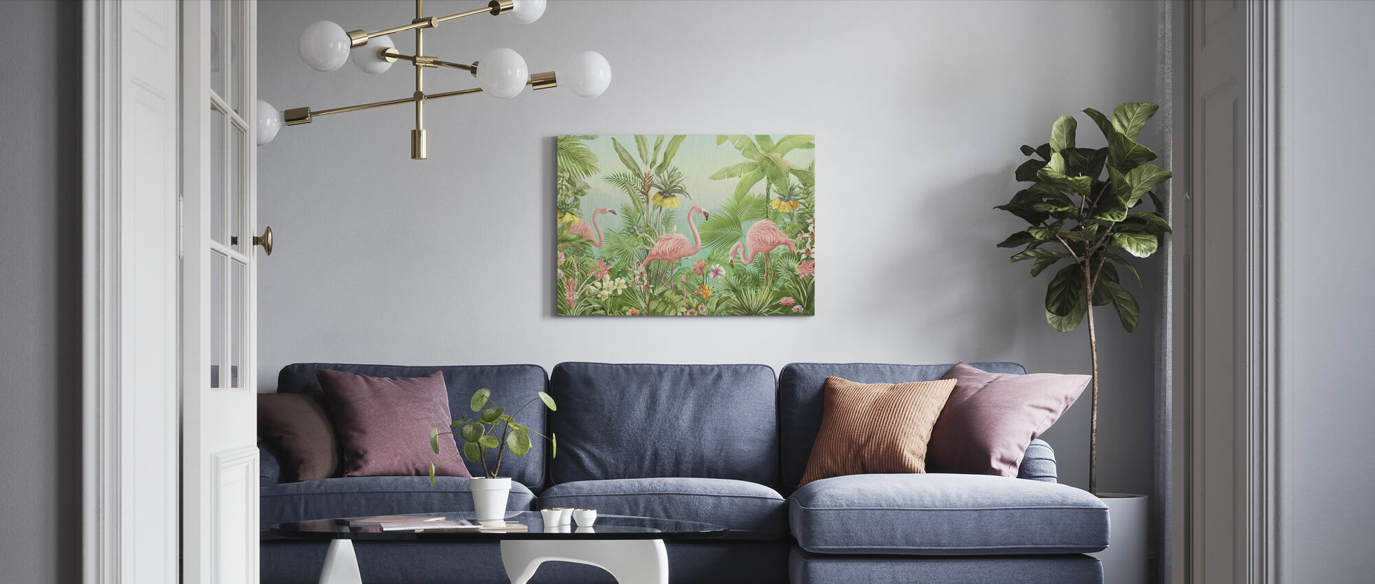 Flamingo Eden - Canvas print - Living Room