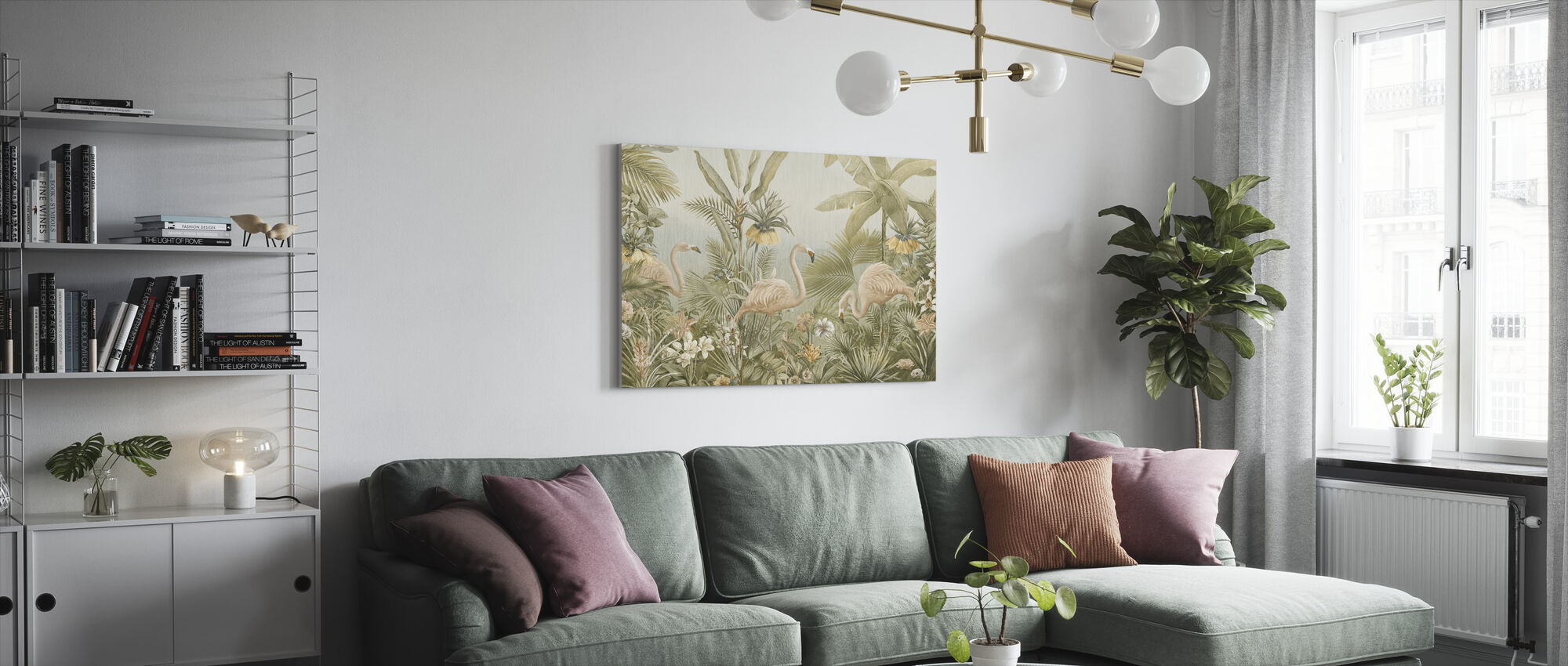 Flamingo Eden - Sepia - Canvas print - Living Room