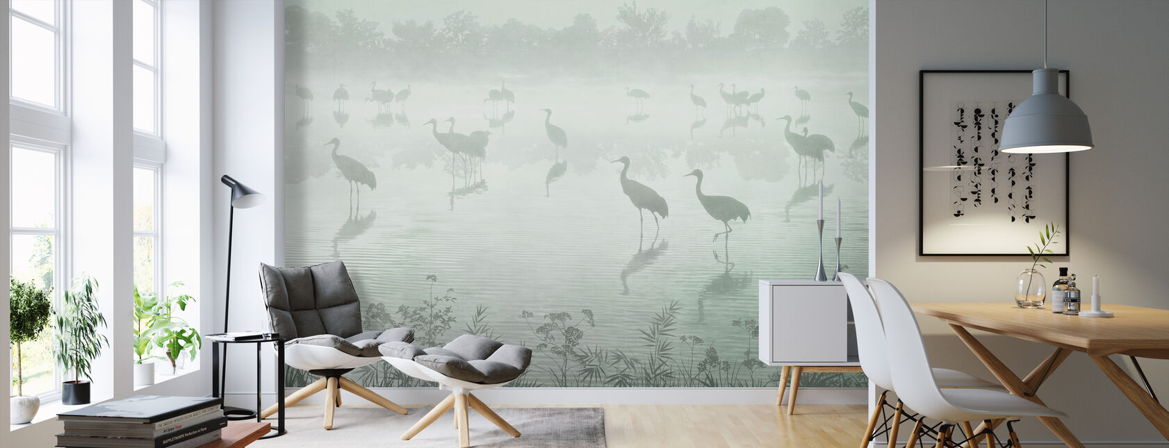 Flock in der Abenddämmerung - Grün - Tapete - Wohnzimmer