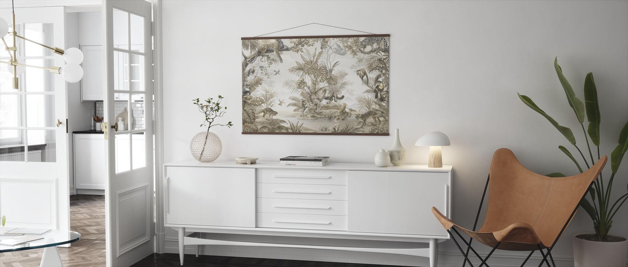 Jungle Hangout - Sepia - Poster - Living Room