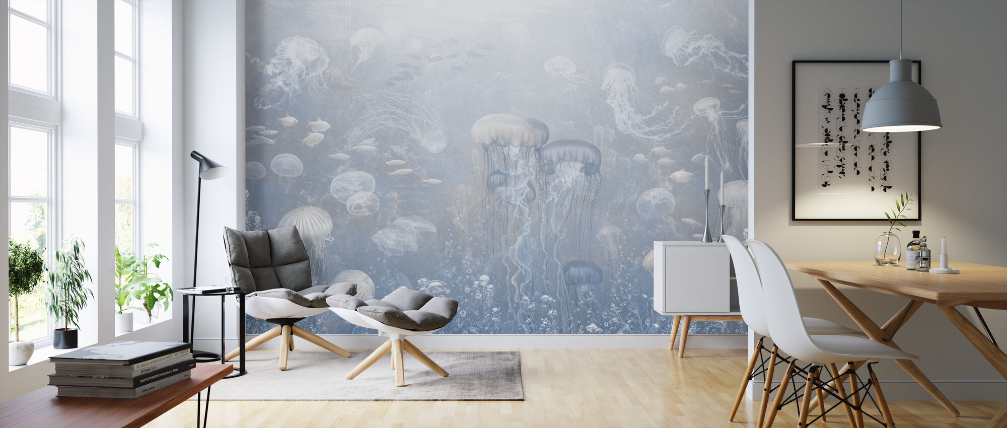 Jellyfish Garden - Blue - Wallpaper - Living Room