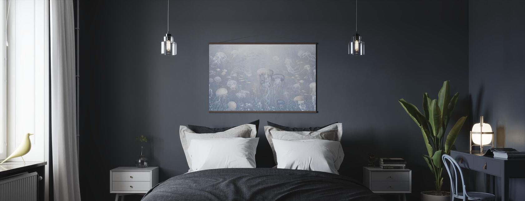 Jellyfish Garden - Azul - Póster - Dormitorio