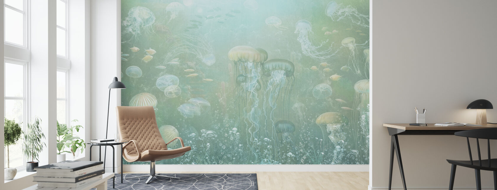Jellyfish Garden - Green - Wallpaper - Living Room
