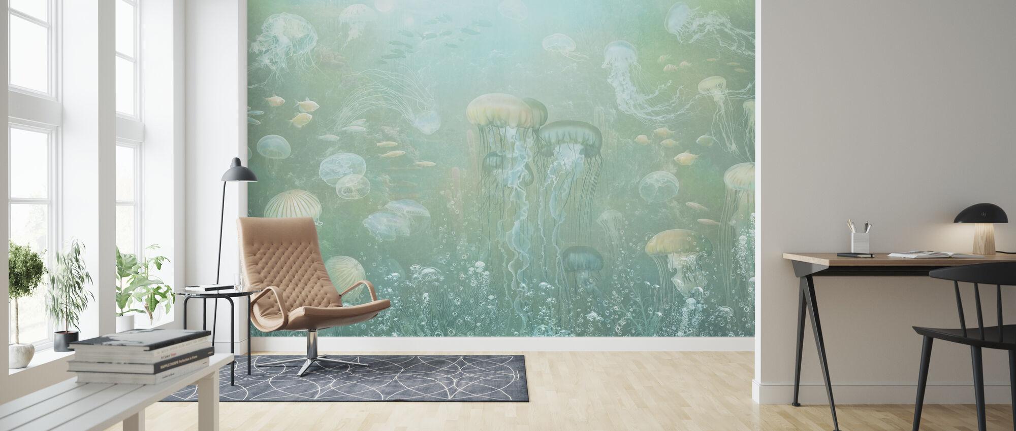Jellyfish Garden - Green - Wallpaper - Living Room