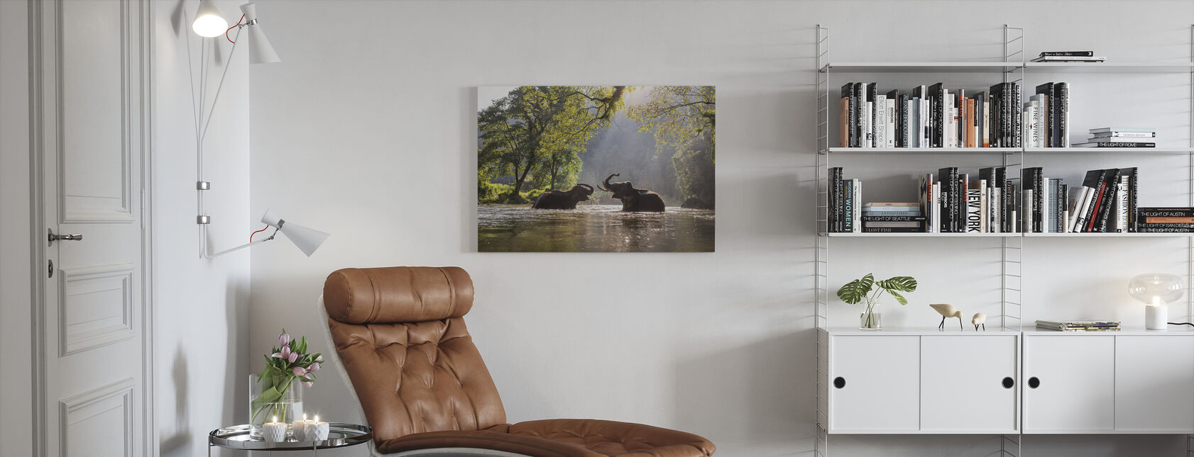 Olifant spelen water - Canvas print - Woonkamer