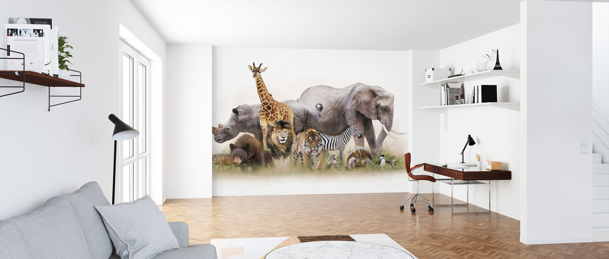 Group of Zoo Animals - Wallpaper - Office