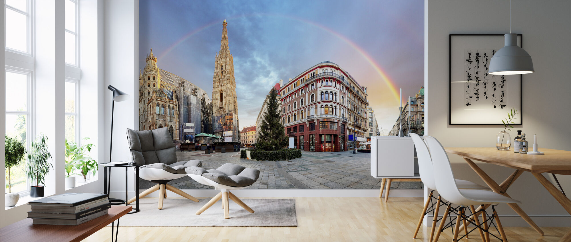 Vienna Square with Rainbow - Wallpaper - Living Room