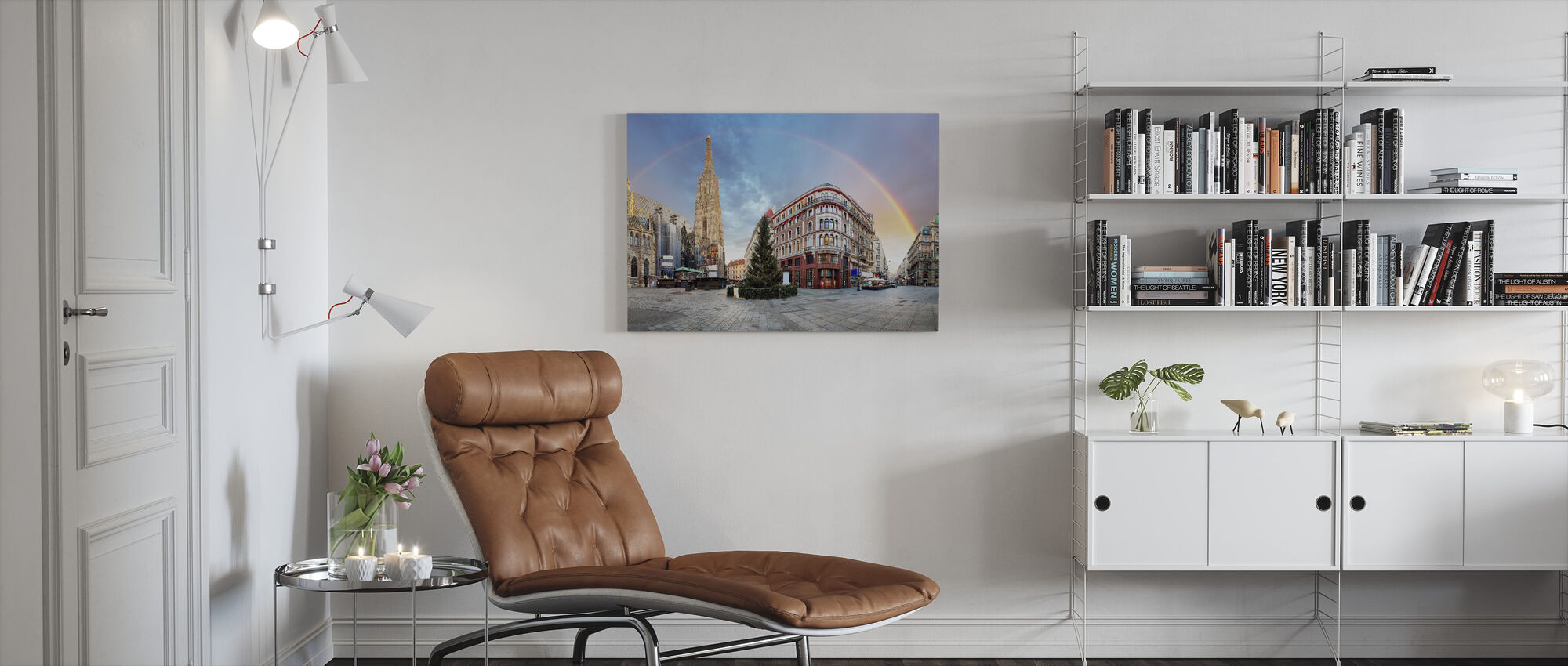 Vienna Square with Rainbow - Canvas print - Living Room