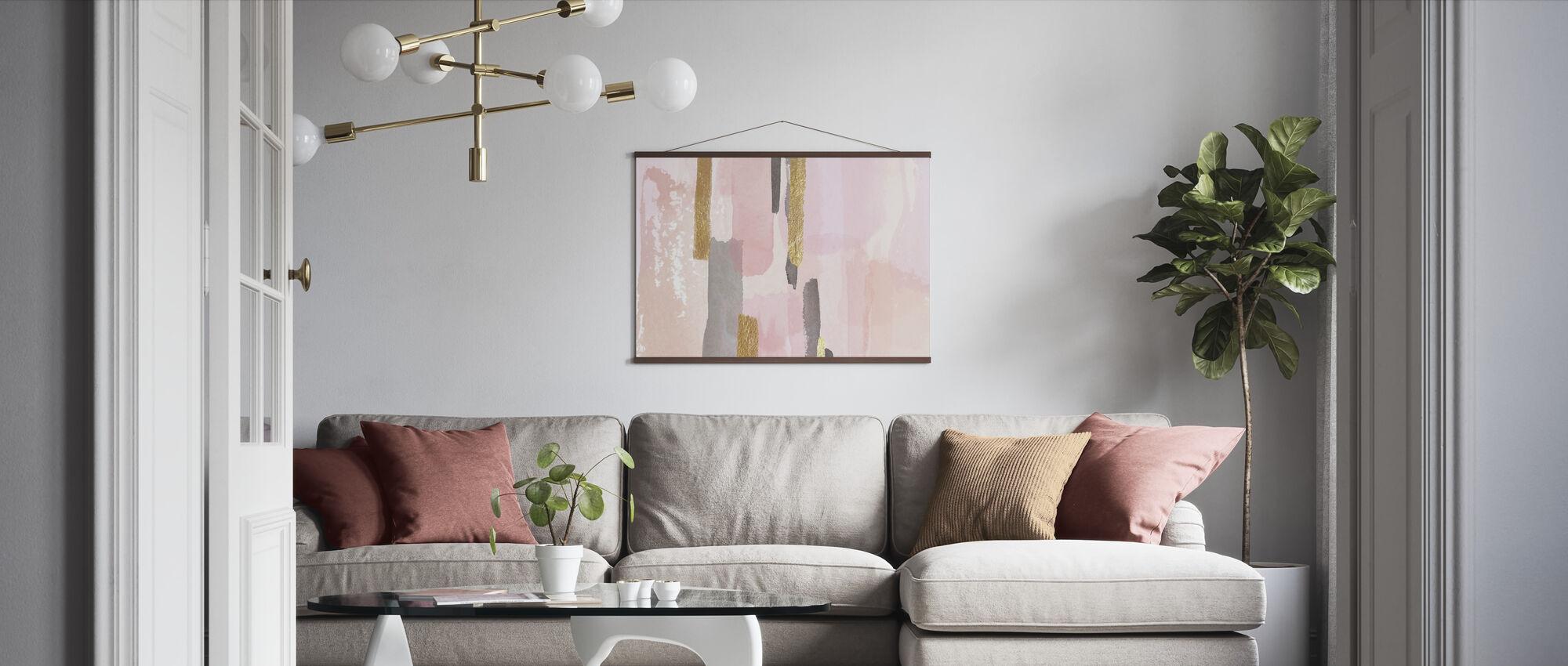 Vaaleanpunainen ja kultainen sisustus - Juliste - Olohuone