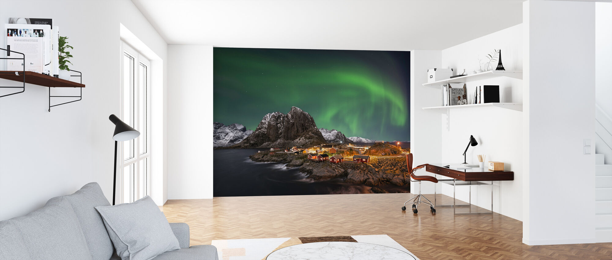 Hamnoy Nothern Lights - Wallpaper - Office