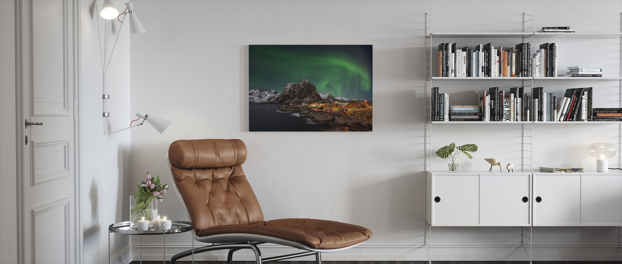 Hamnoy Nothern Lights - Canvas print - Living Room