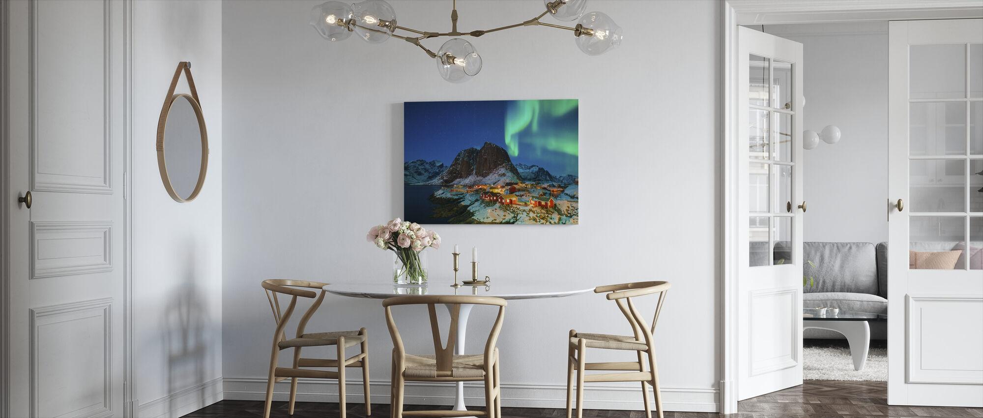 Fargerike nordlys - Lerretsbilde - Kjøkken
