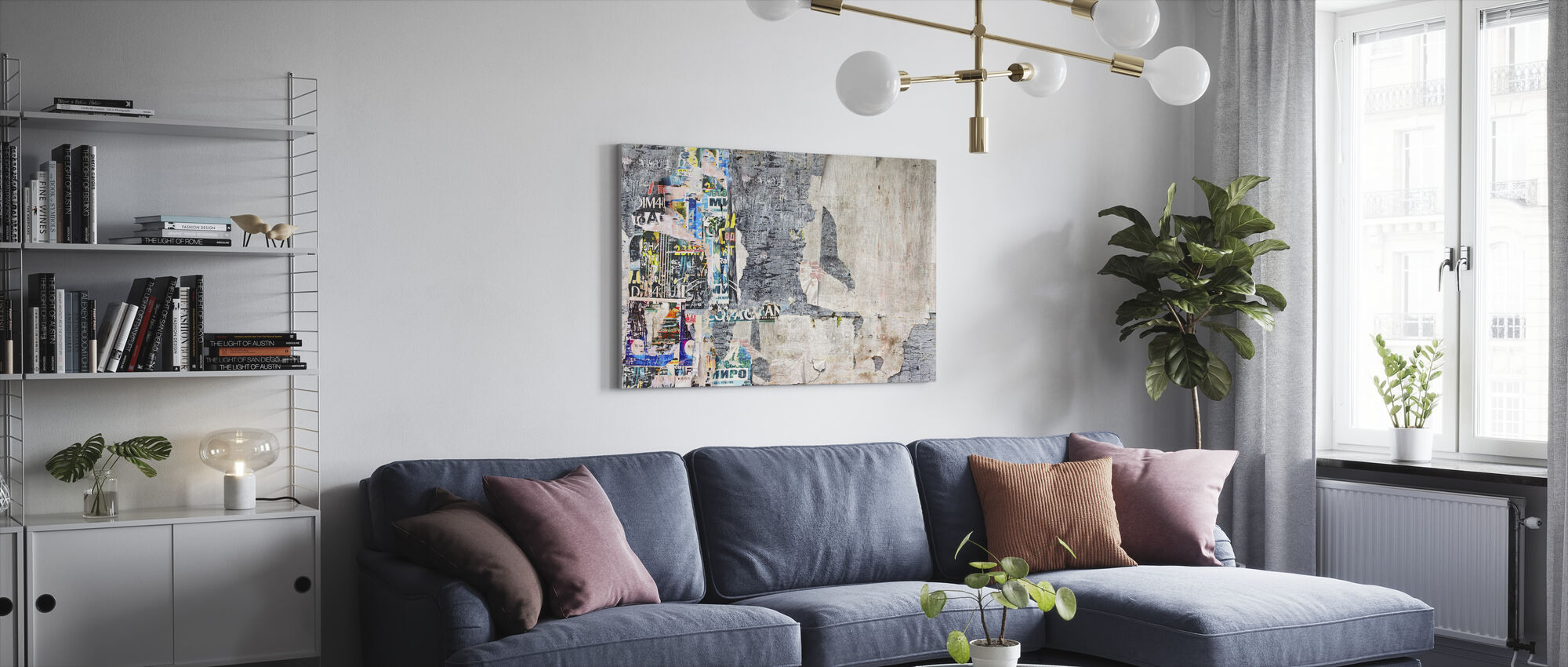 Wood Billboard with Torn Posters - Canvas print - Living Room