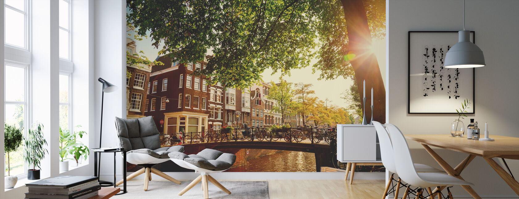 Bridge in Amsterdam - Wallpaper - Living Room
