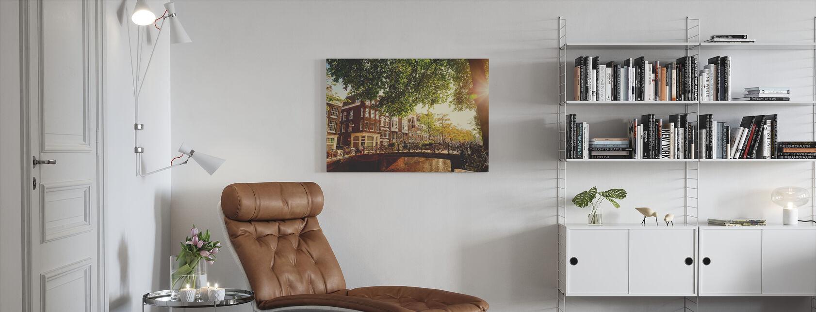 Bridge in Amsterdam - Canvas print - Living Room