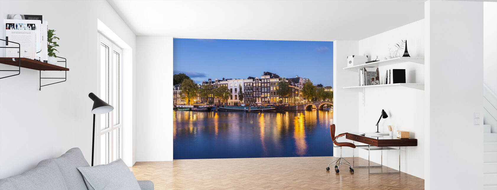Skinny Bridge and Amstel Canal - Wallpaper - Office