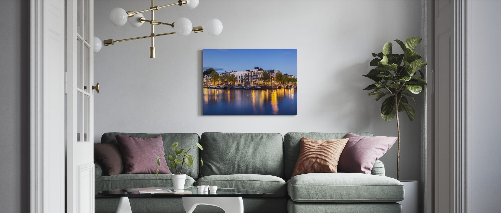 Skinny Bridge and Amstel Canal - Canvas print - Living Room