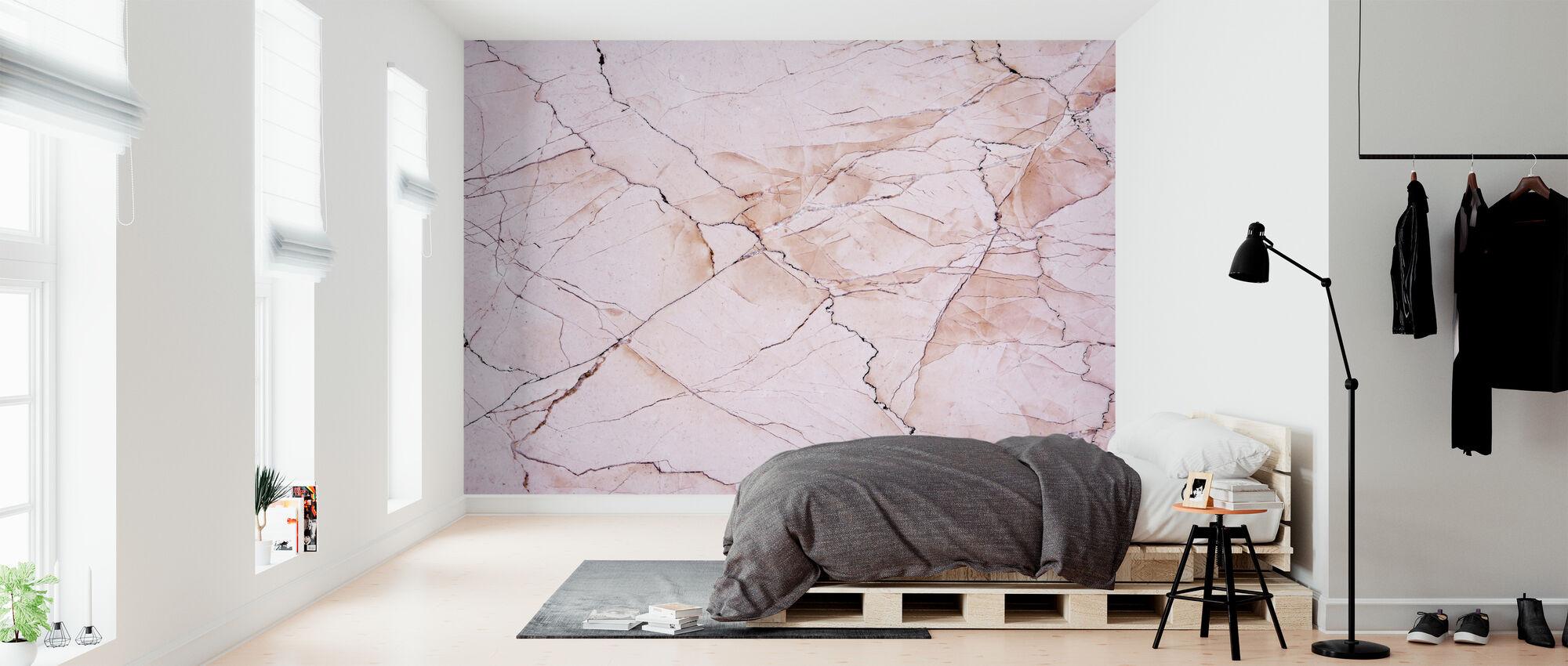 Roze licht marmeren steen - Behang - Slaapkamer