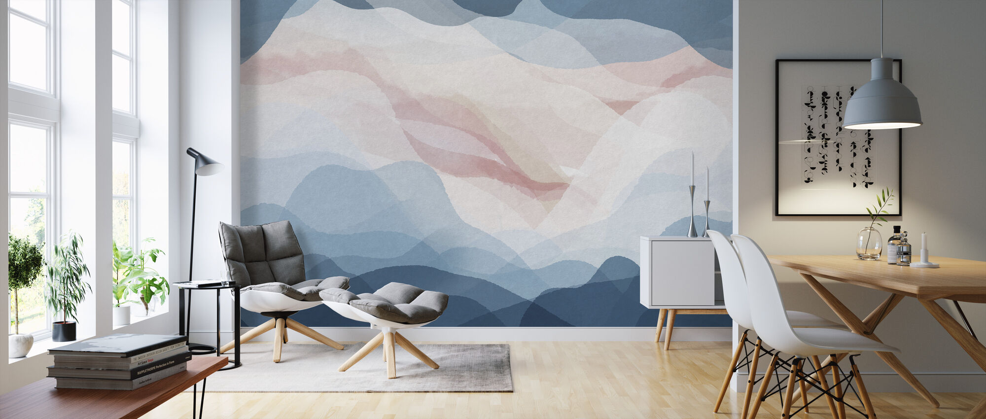 Gradient - Bluish - Wallpaper - Living Room