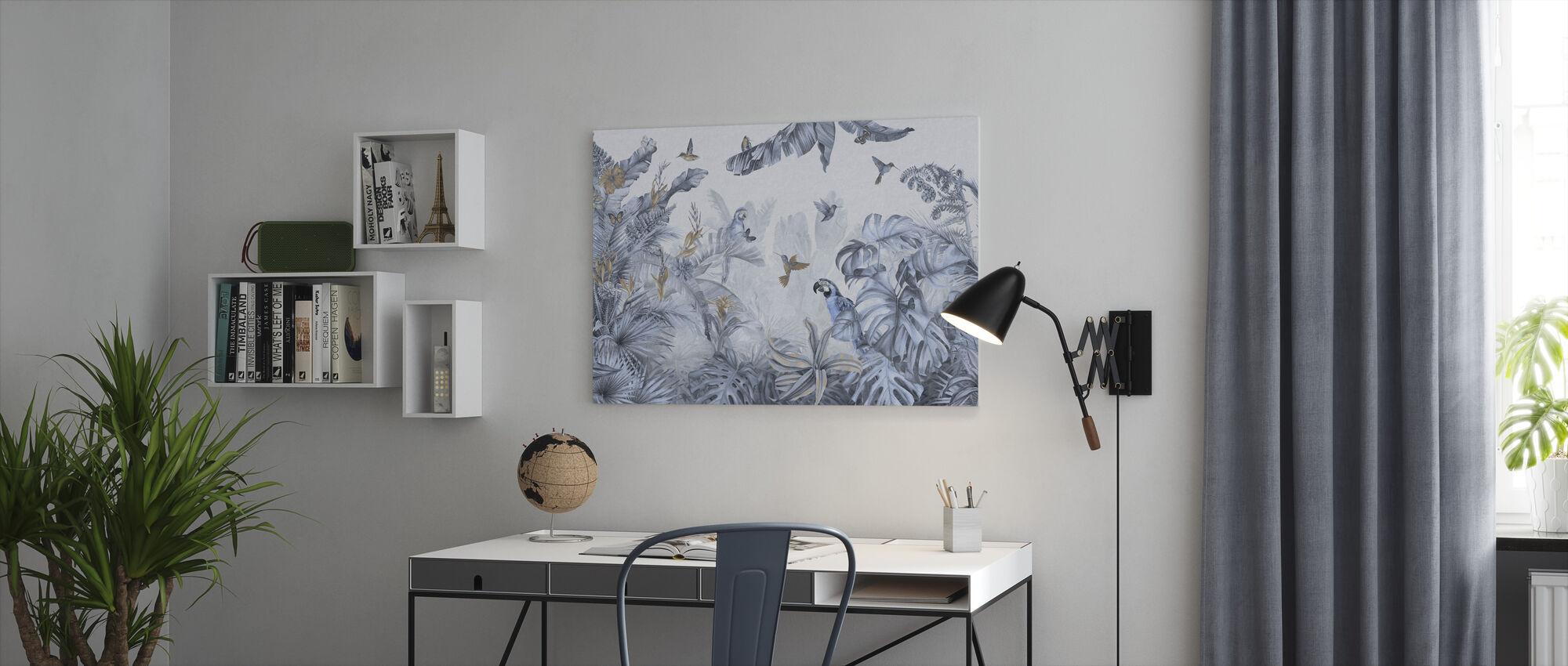Parrots Paradise - Blue - Canvas print - Office