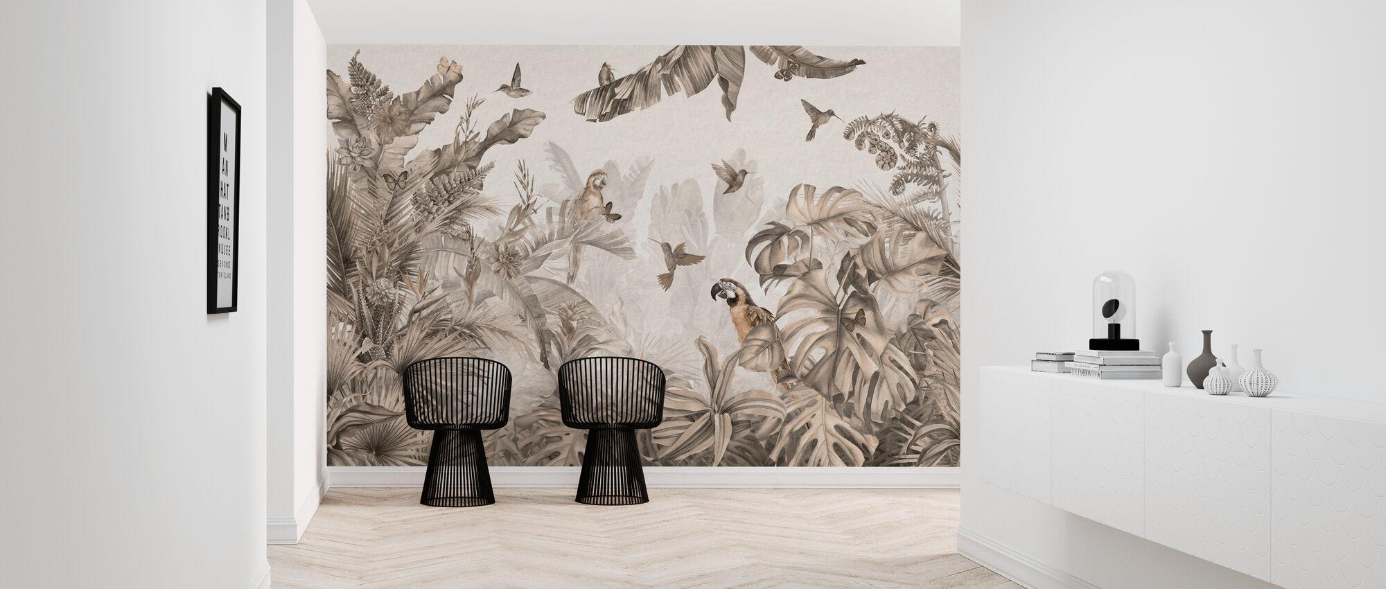 Papegøyer Paradise - Sepia - Tapet - Gang