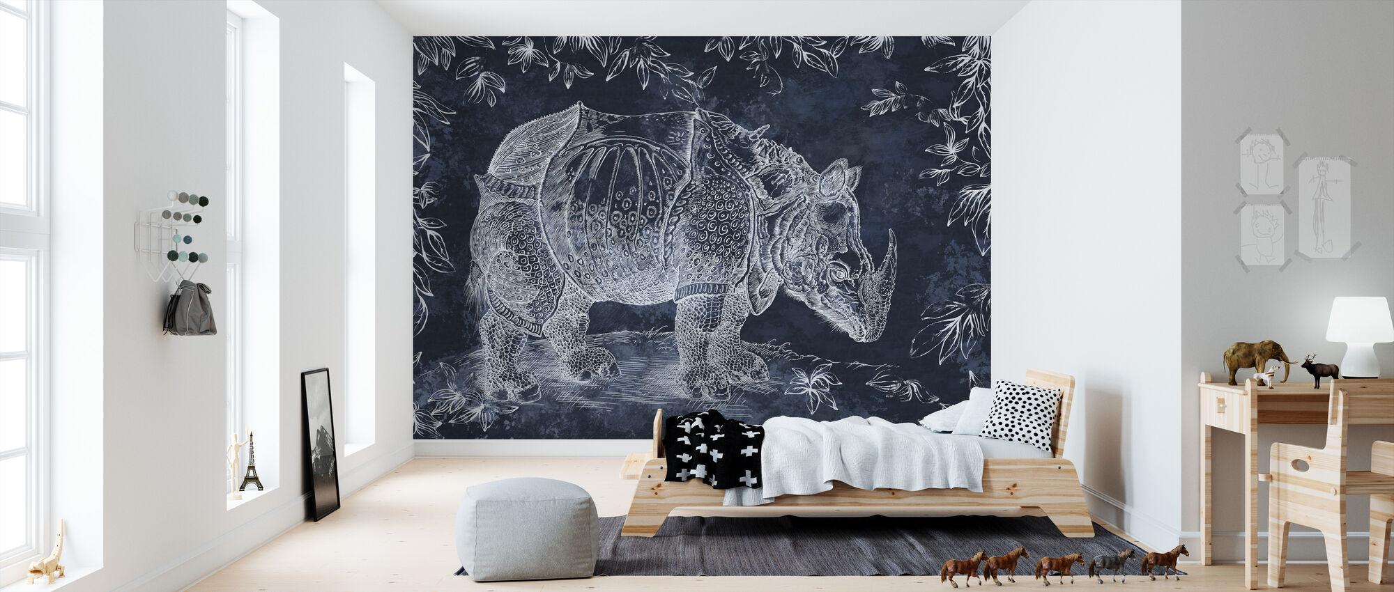 Rhino - Tummansininen - Tapetti - Lastenhuone