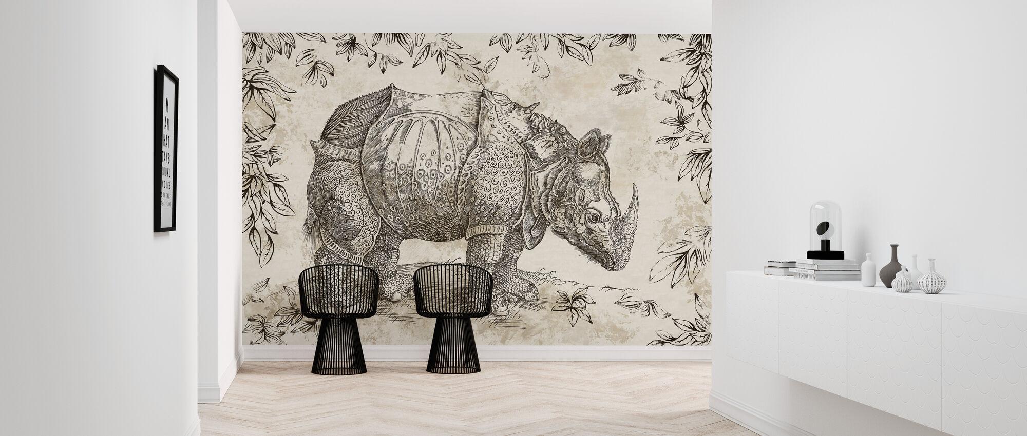 Rhino - Sepia - Wallpaper - Hallway
