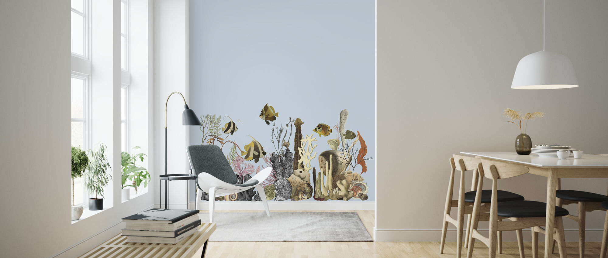 Aquarius - Blue - Wallpaper - Living Room