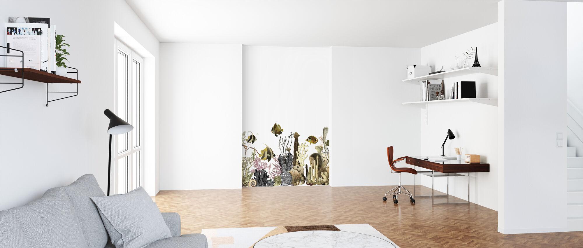 Aquarius - White - Wallpaper - Office