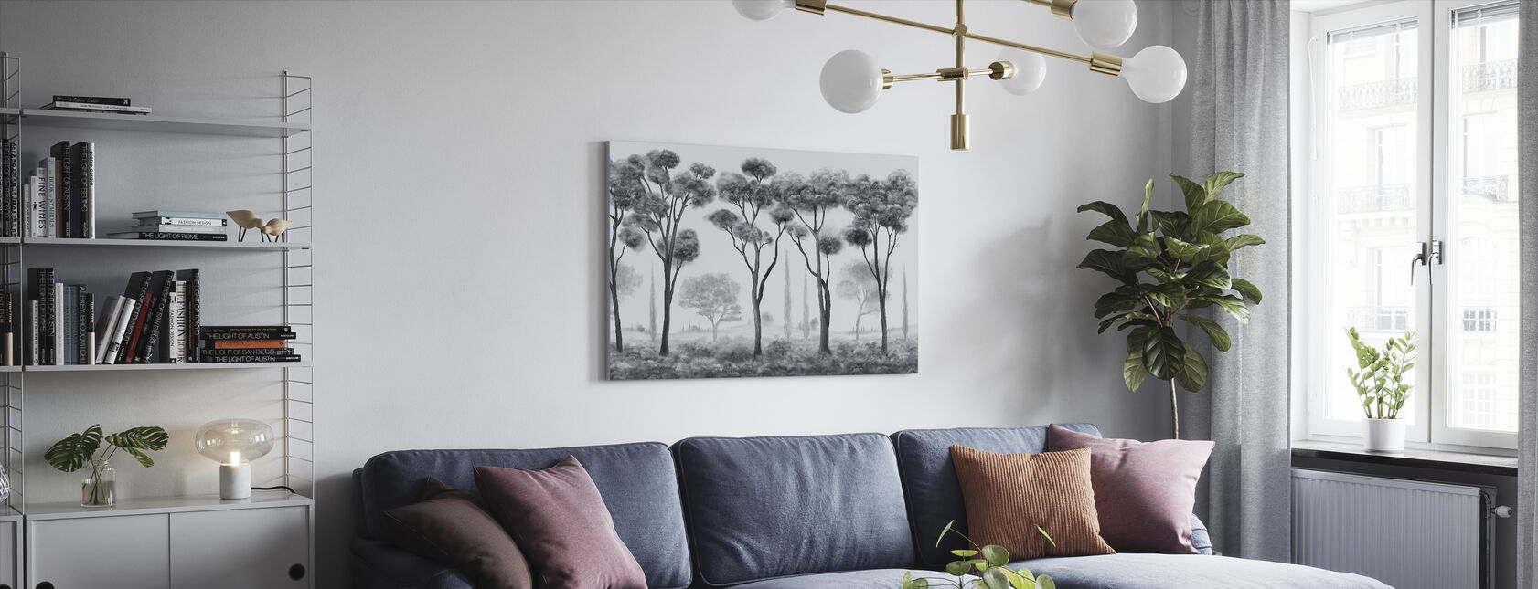 Light and Shade - Grey - Canvas print - Living Room