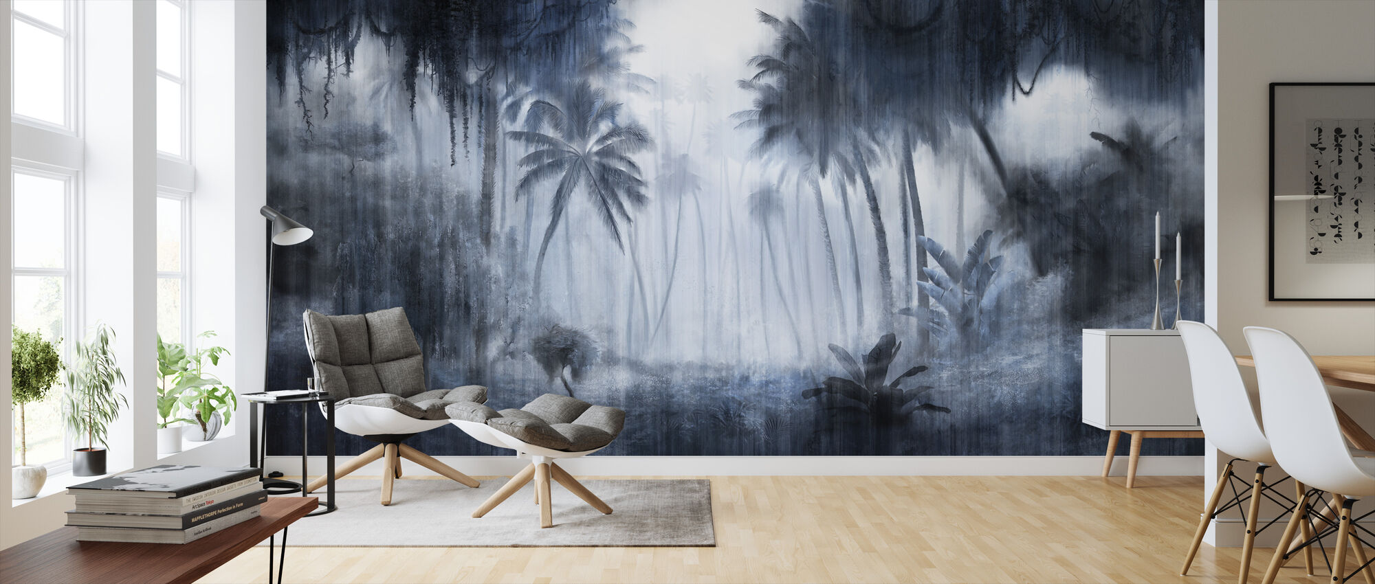 Definitive Tropical - Indigo - Wallpaper - Living Room