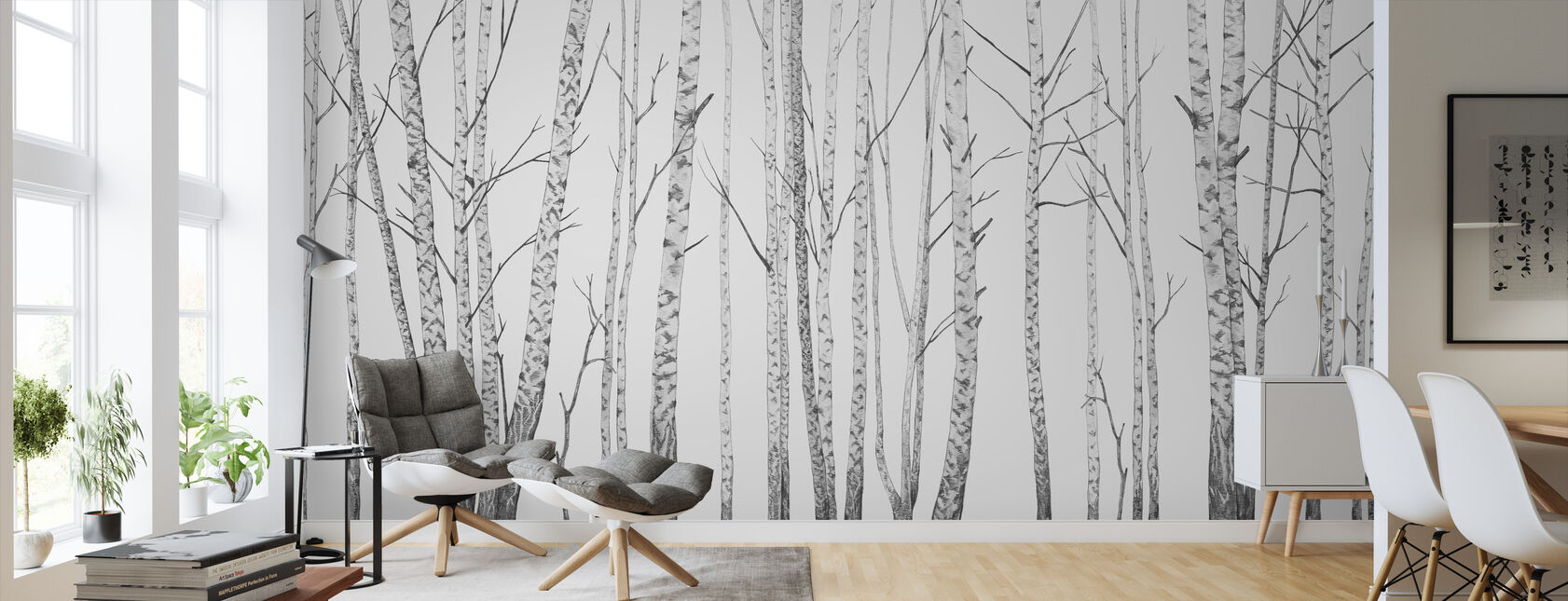 Birch Stems - bw - Wallpaper - Living Room