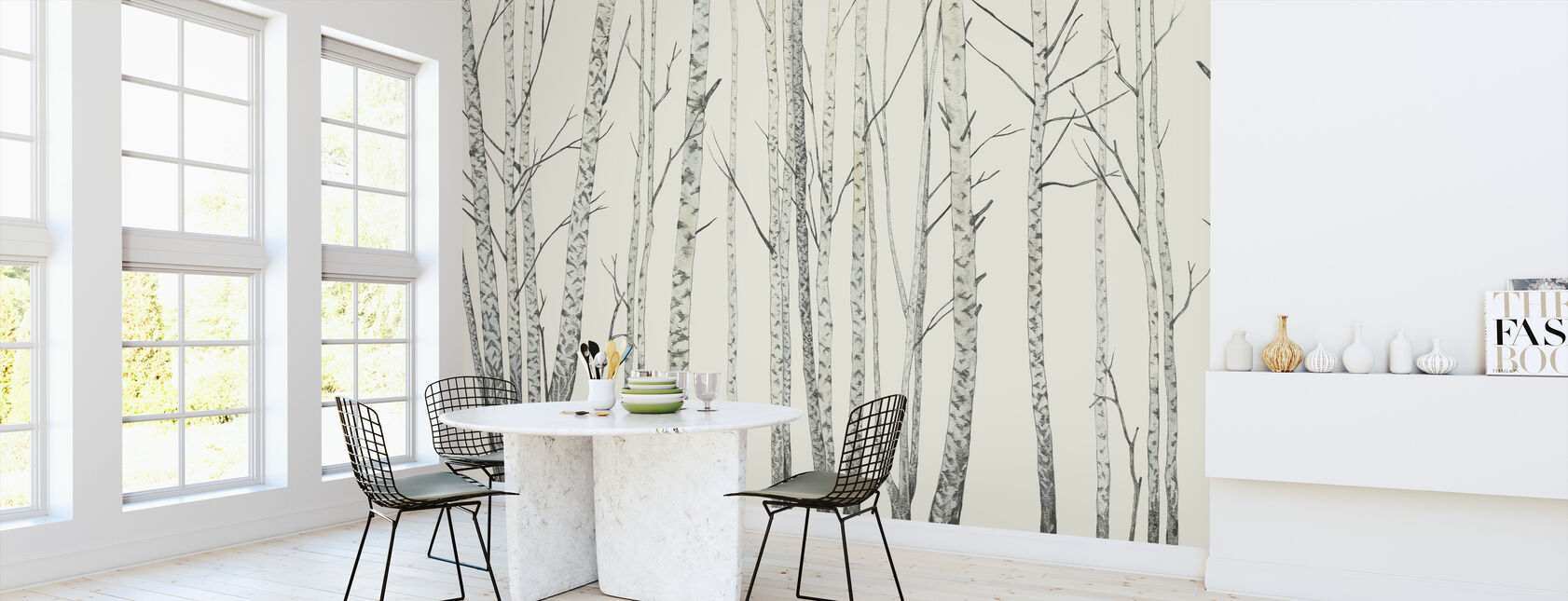 Birch Stems - Cream - Wallpaper - Kitchen