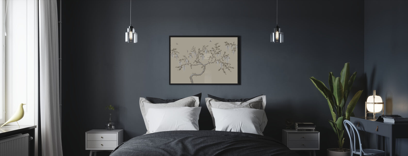 Ineffable Tree - Soft Beige - Framed print - Bedroom