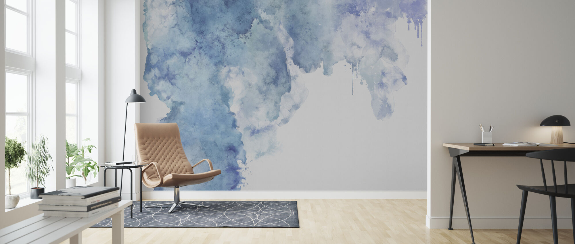 Blå akvarell fläck - Tapet - Vardagsrum