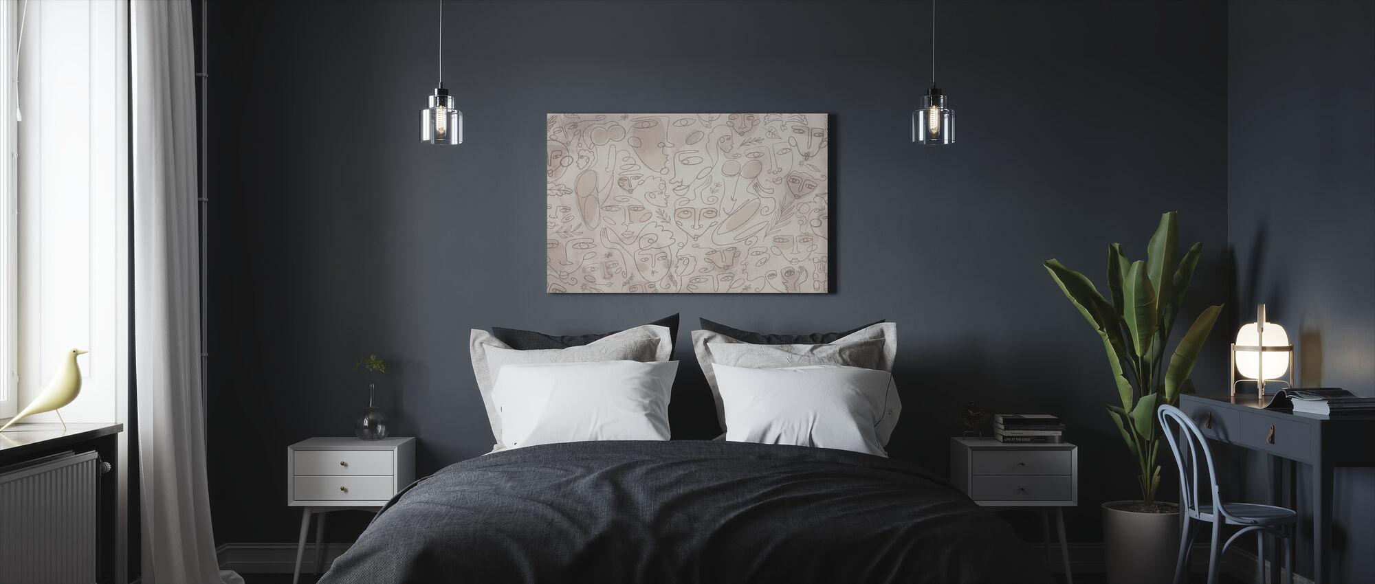 Lijn Gezichten - Beige - Canvas print - Slaapkamer