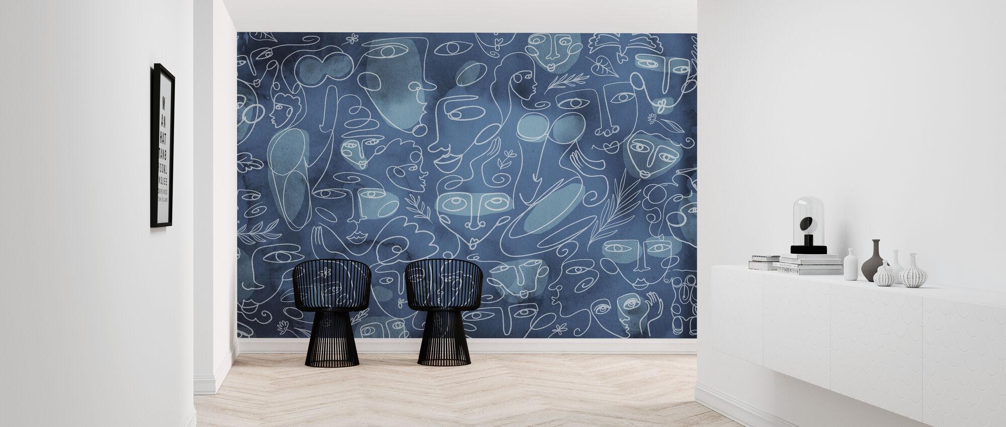 Line Faces - Dark Blue - Wallpaper - Hallway