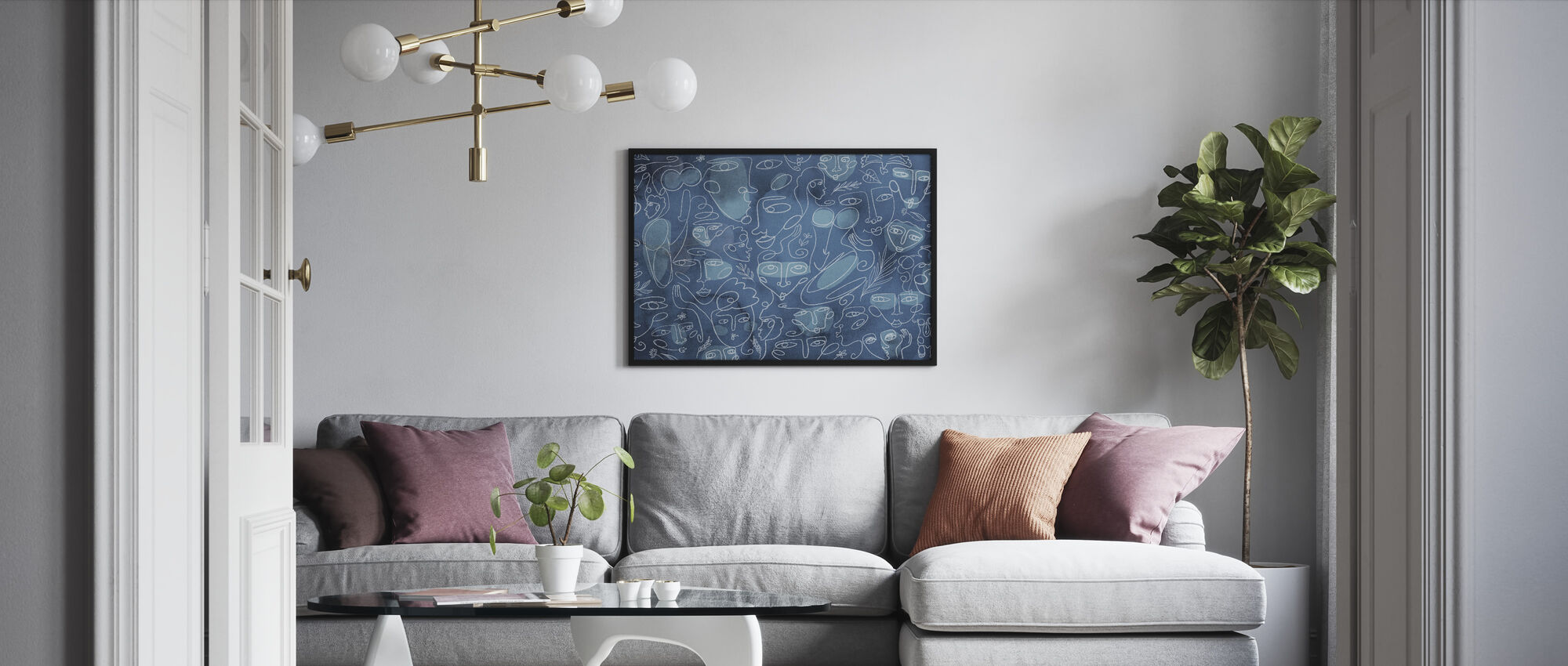 Line Faces - Dark Blue - Framed print - Living Room
