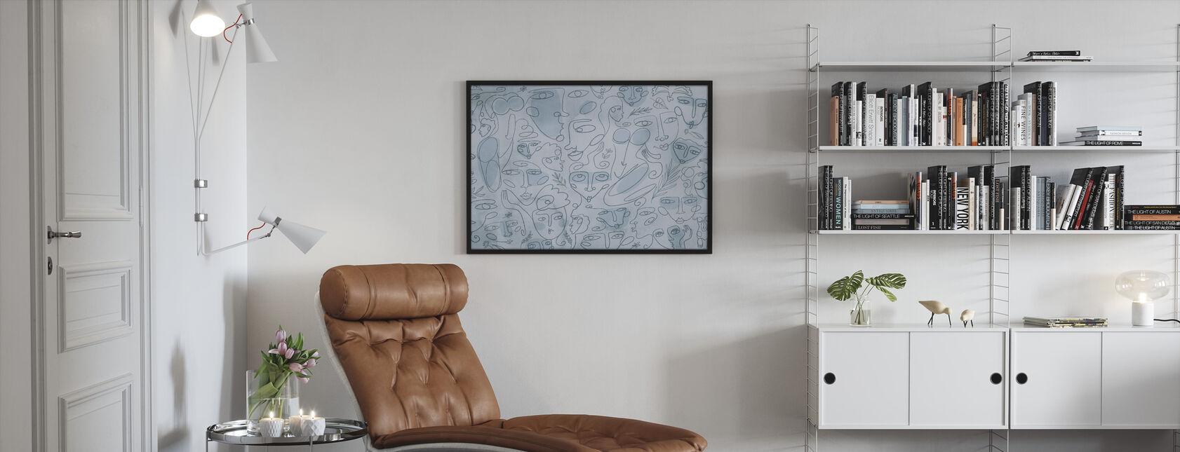Line Faces - Light Blue - Framed print - Living Room