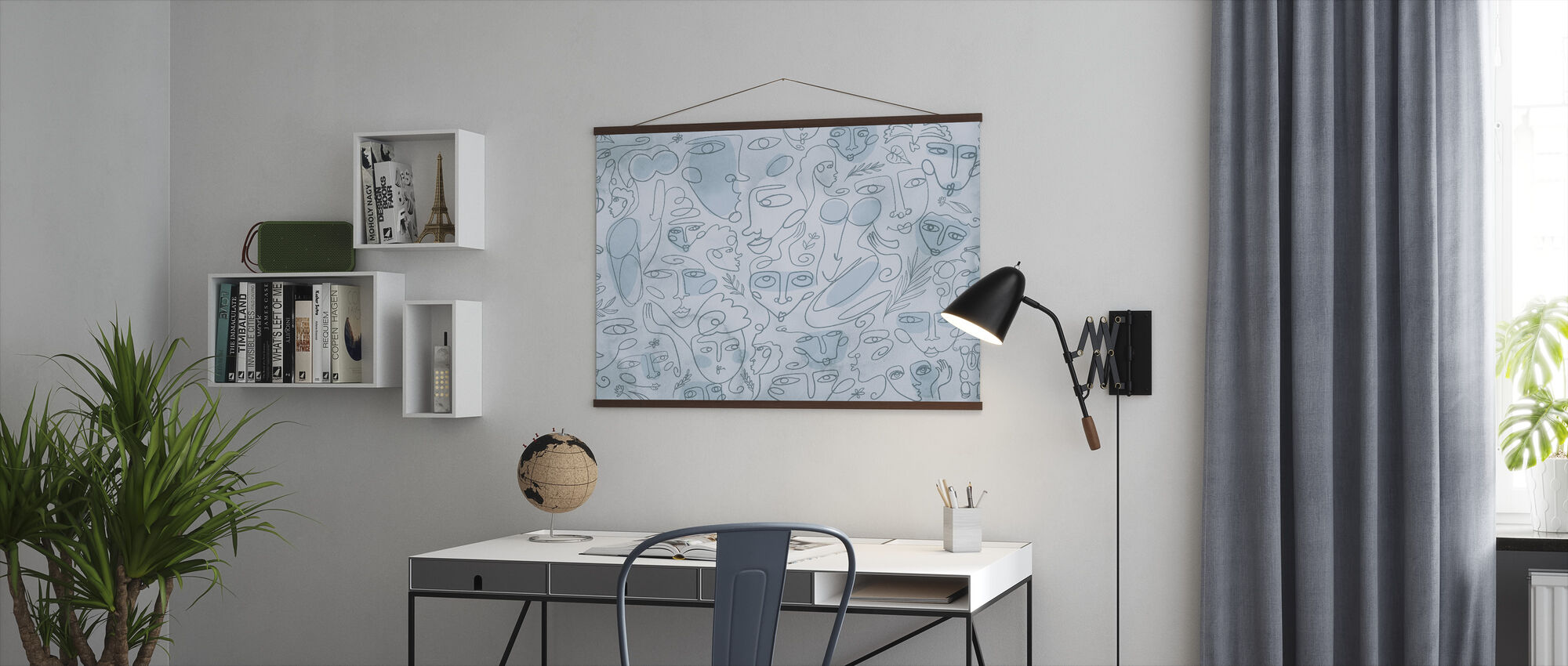 Line Faces - Light Blue - Poster - Office