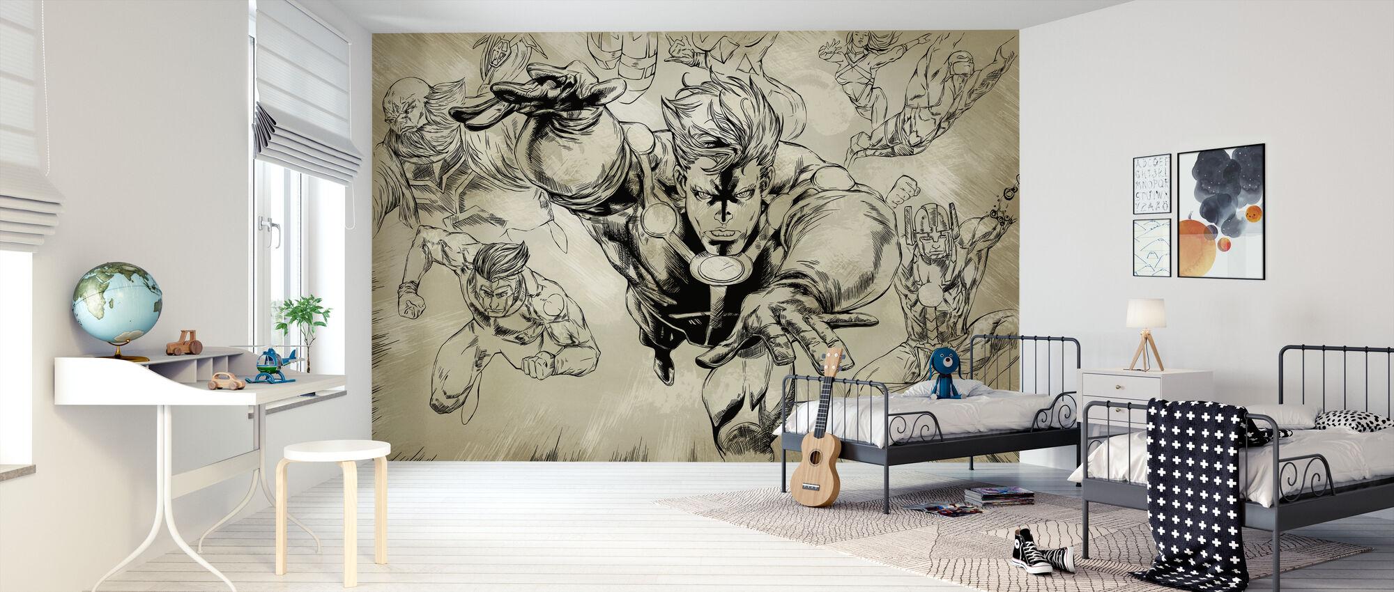 Superheros - Sepia - Wallpaper - Kids Room