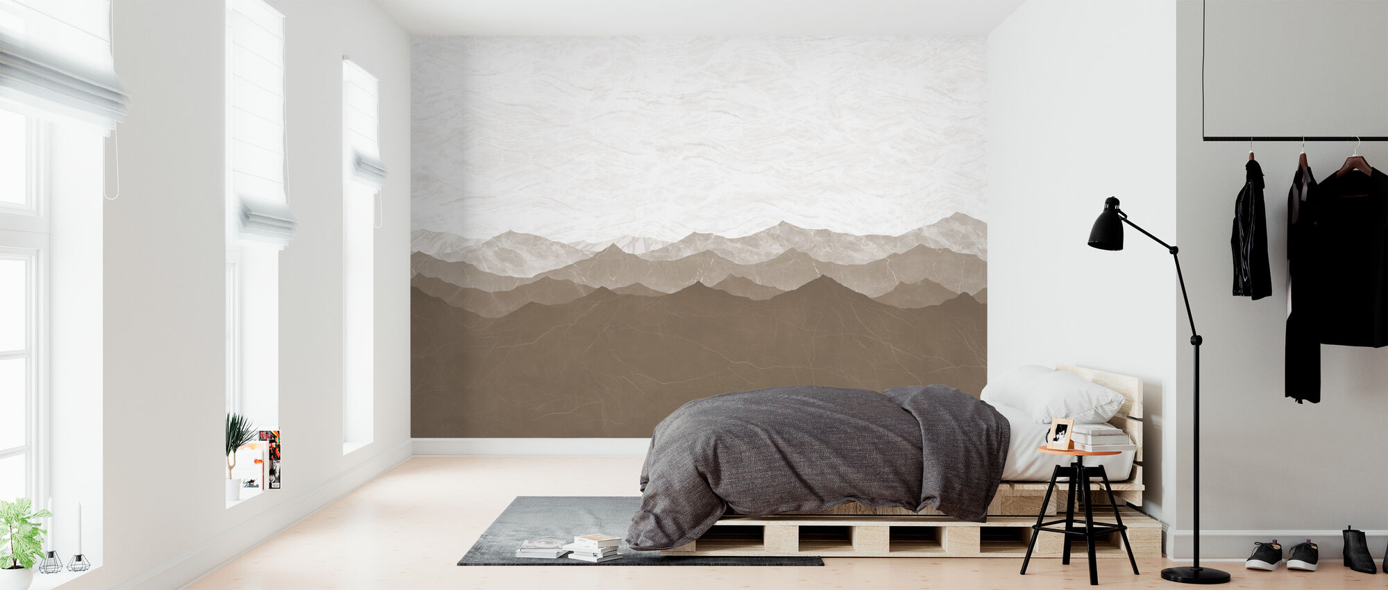 Montagne - Brown - Wallpaper - Bedroom