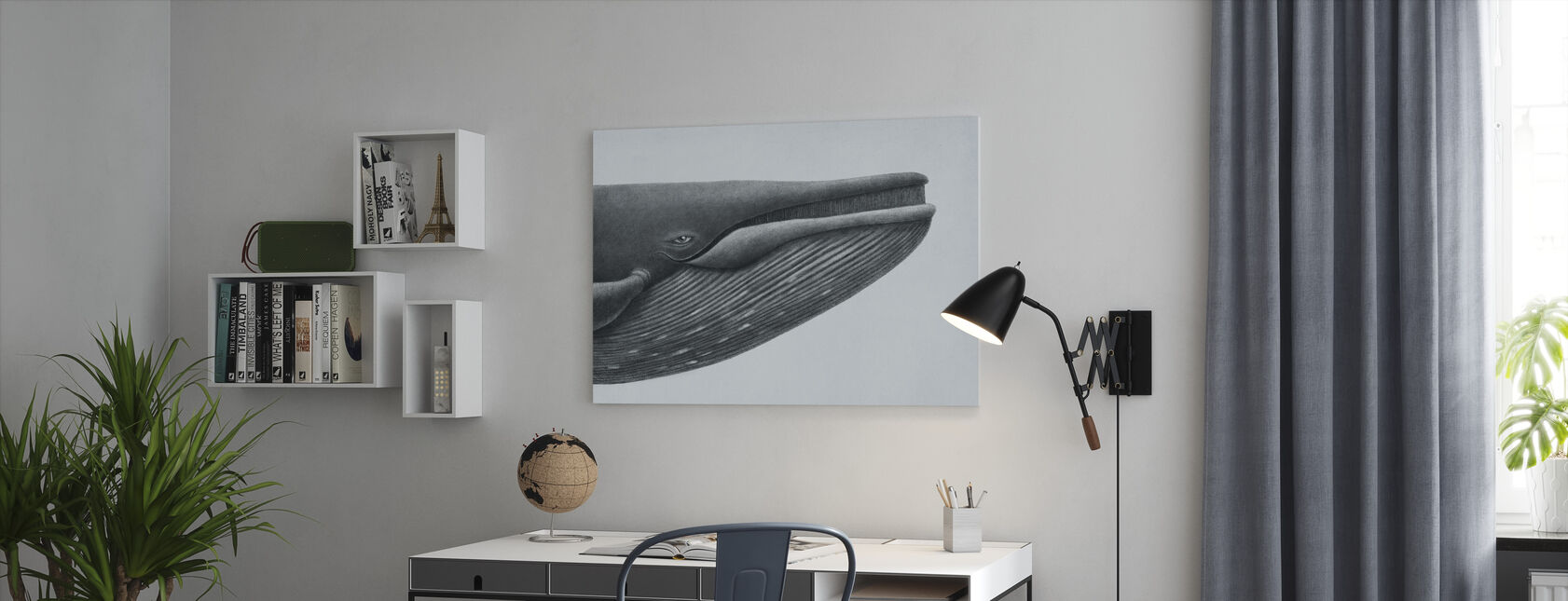 Blue Whale Head - Canvas print - Office