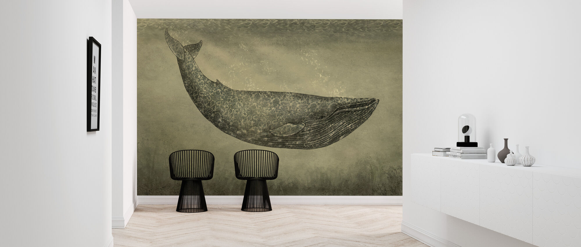 Damask Whale - Wallpaper - Hallway