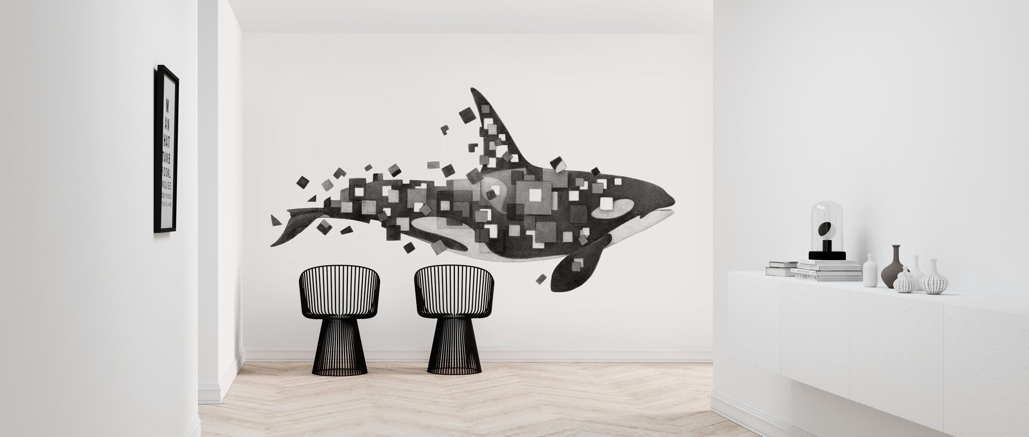 Fractured Killer Whale Grayscale - Wallpaper - Hallway