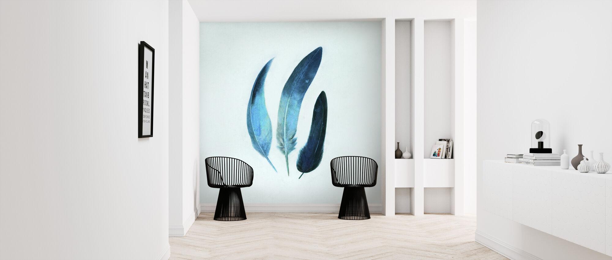 Indigo Feathers square - Wallpaper - Hallway