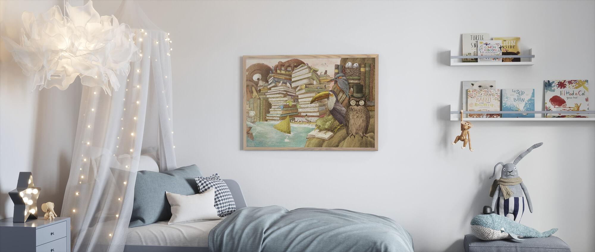 Ocean Meets Sky Library Islands - Framed print - Kids Room