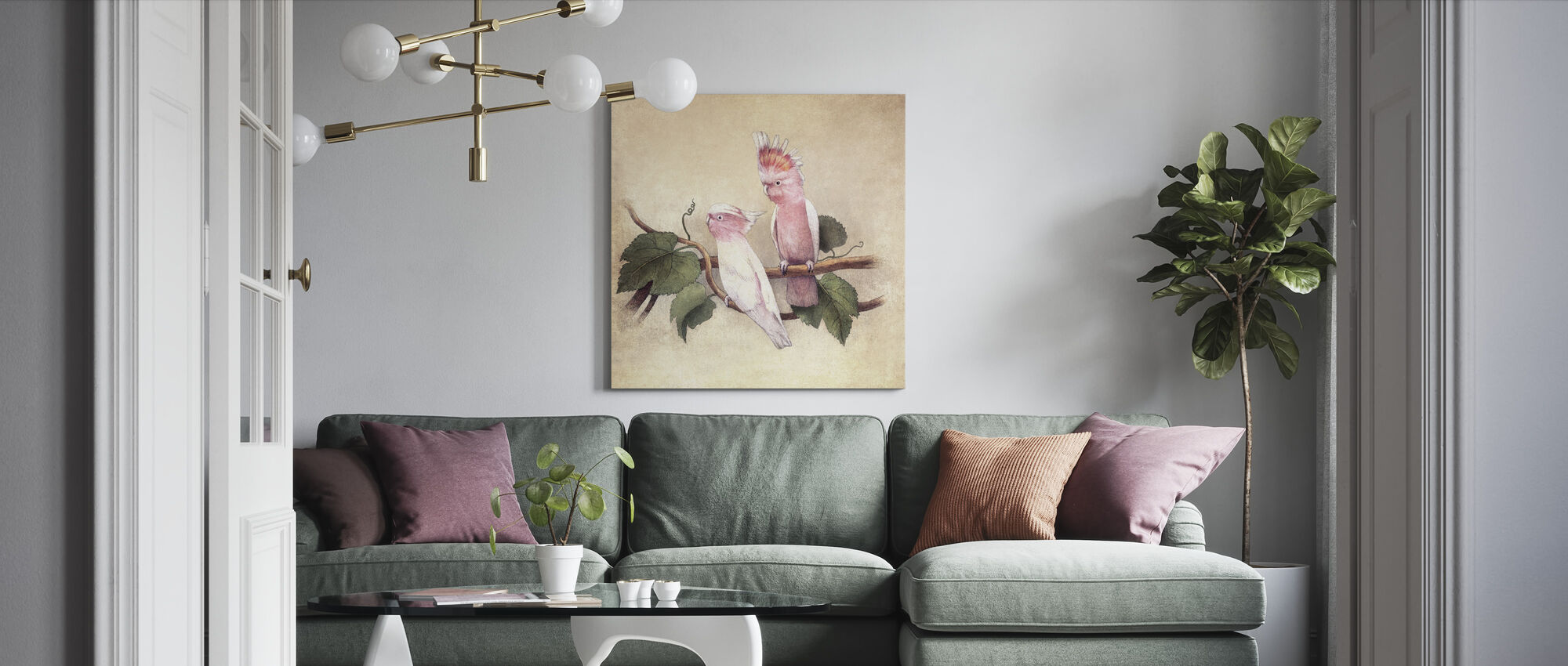 Pink Cockatoos - Canvas print - Living Room