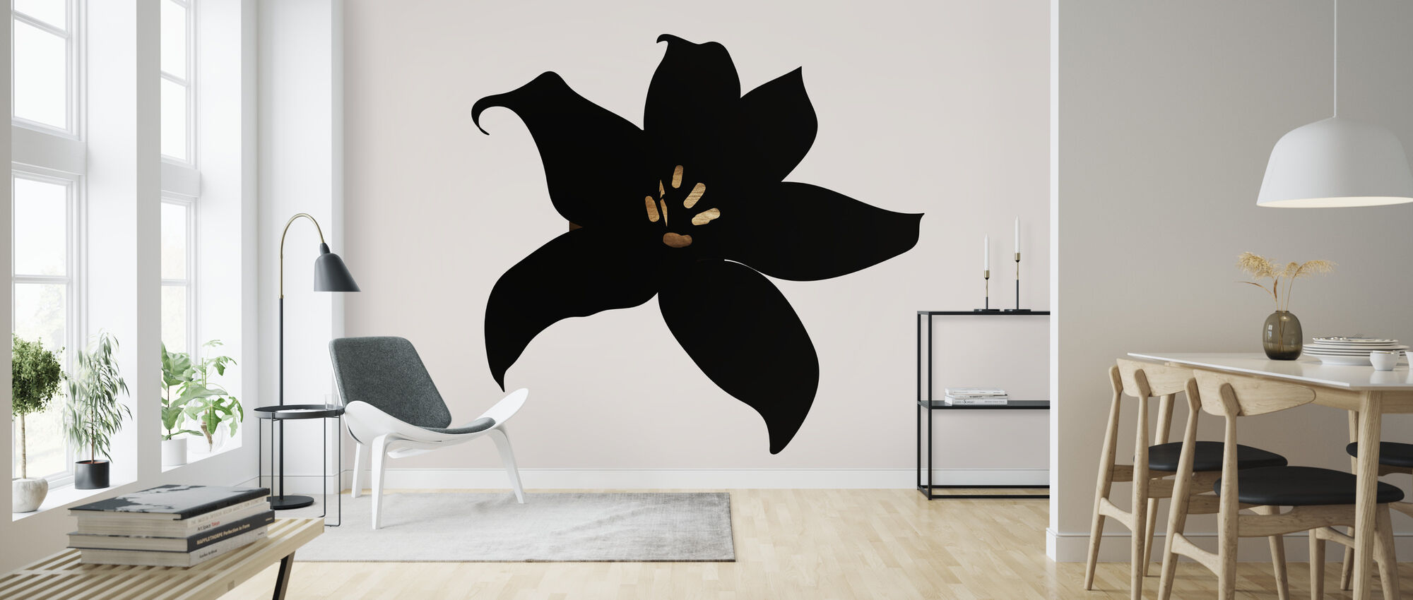 Donkere Orchidee - Behang - Woonkamer